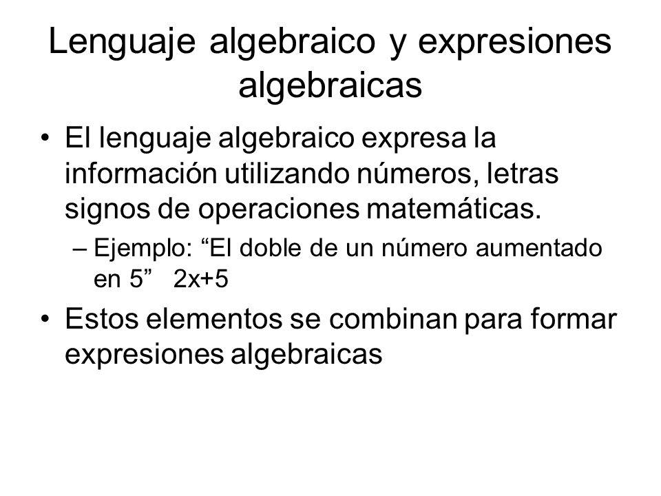 Lenguaje algebraico y expresiones algebraicas