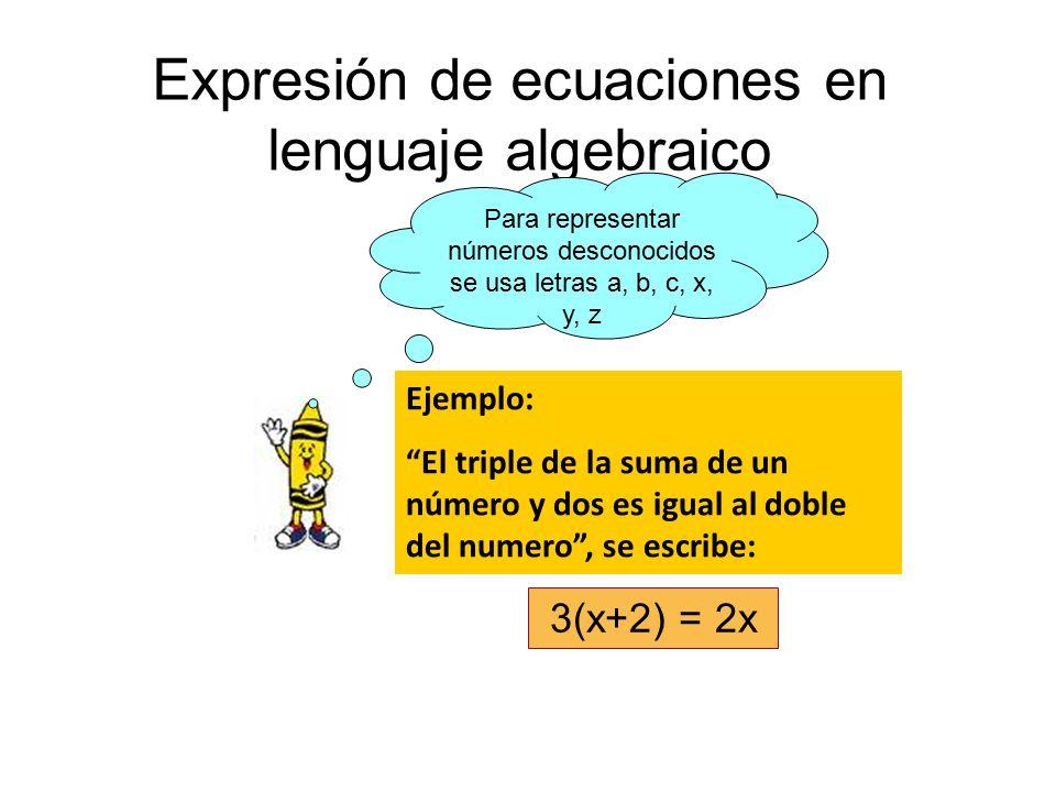 Expresión de ecuaciones en lenguaje algebraico