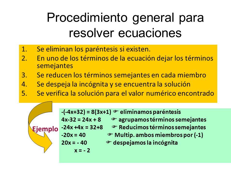 Procedimiento general para resolver ecuaciones