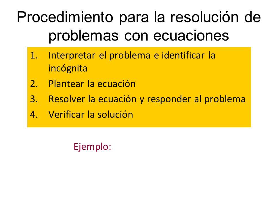 Procedimiento para la resolución de problemas con ecuaciones