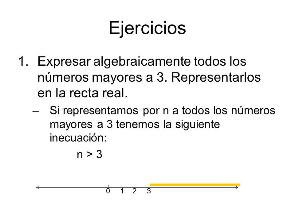 Ejercicios Expresar algebraicamente todos los números mayores a 3. Representarlos en la recta real.