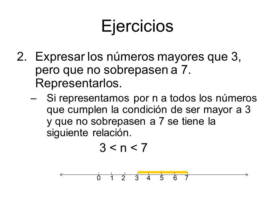 Ejercicios Expresar los números mayores que 3, pero que no sobrepasen a 7. Representarlos.