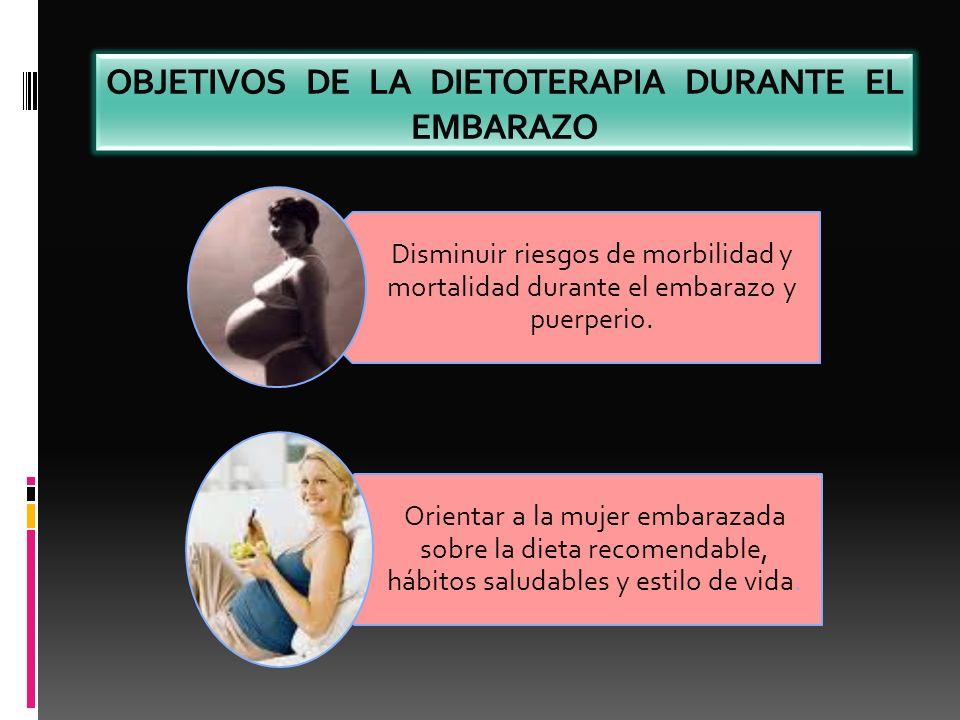 OBJETIVOS DE LA DIETOTERAPIA DURANTE EL EMBARAZO