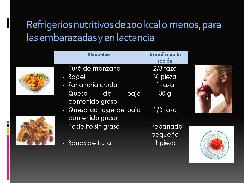 Refrigerios nutritivos de 100 kcal o menos, para las embarazadas y en lactancia
