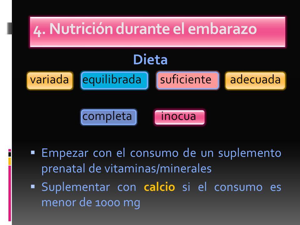 4. Nutrición durante el embarazo