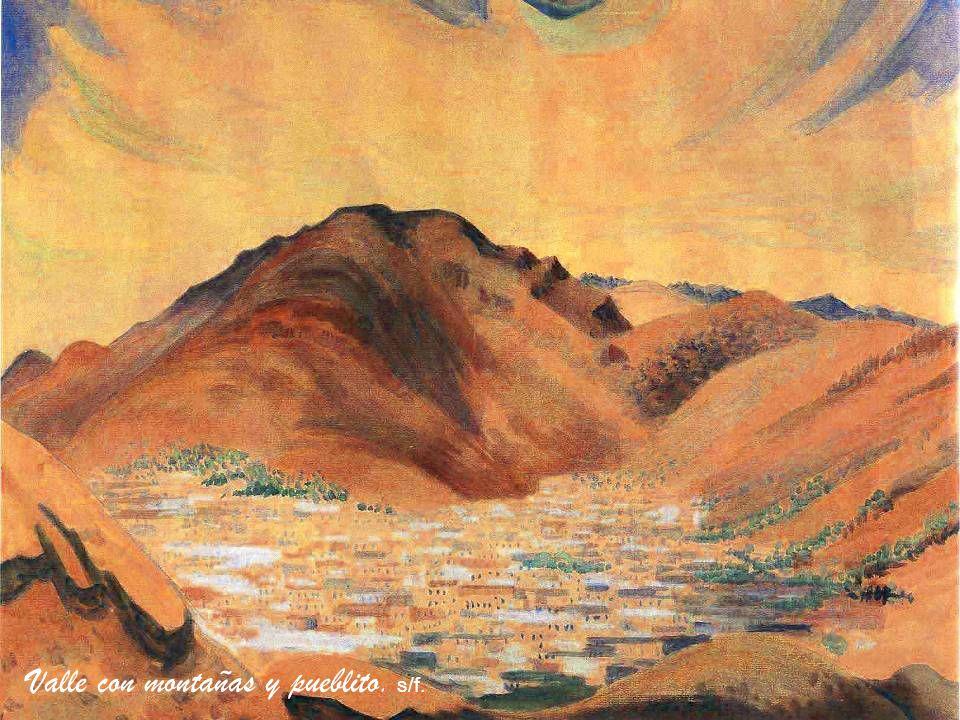 Valle con montañas y pueblito. s/f.