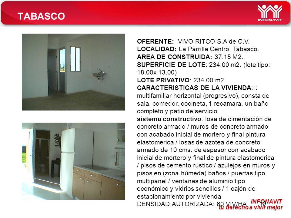 TABASCO OFERENTE: VIVO RITCO S.A de C.V.