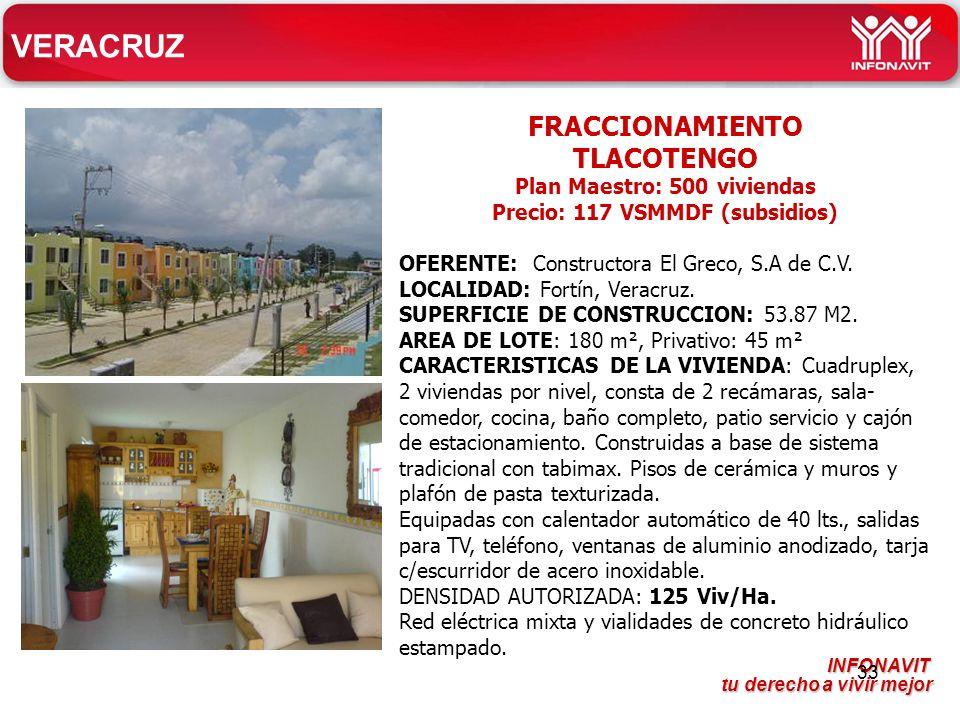 Plan Maestro: 500 viviendas Precio: 117 VSMMDF (subsidios)