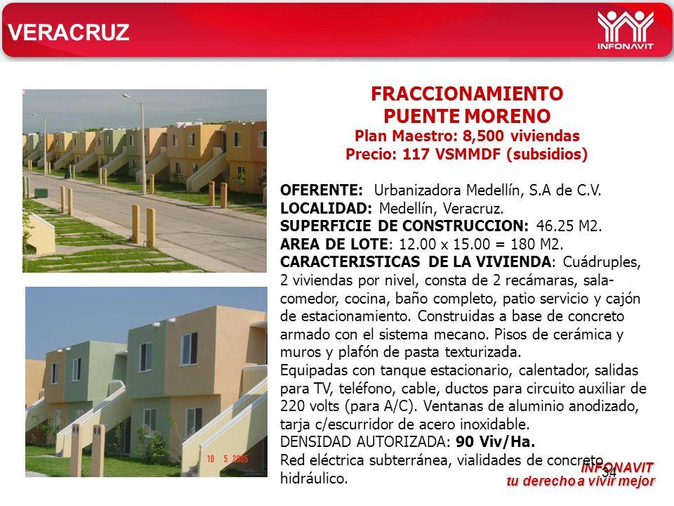 Plan Maestro: 8,500 viviendas Precio: 117 VSMMDF (subsidios)