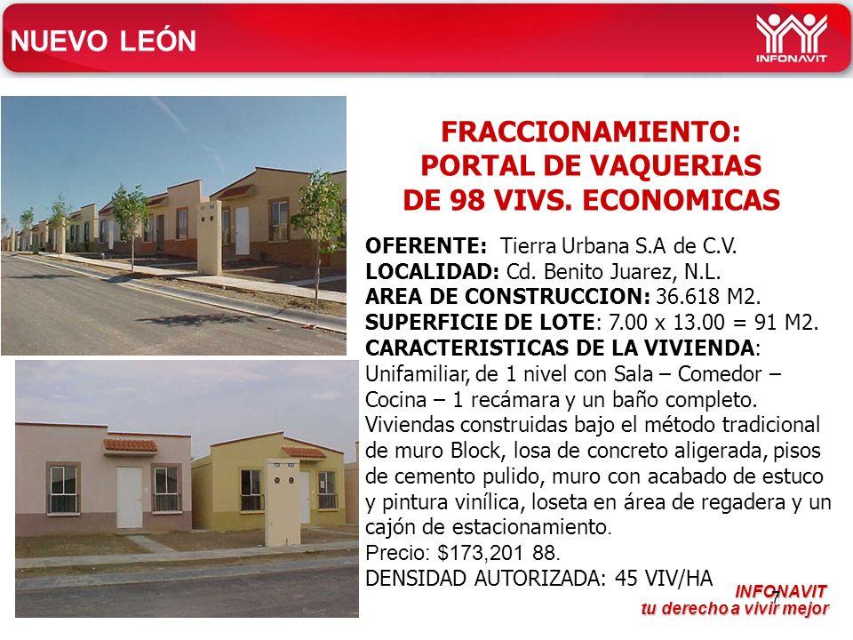 FRACCIONAMIENTO: PORTAL DE VAQUERIAS DE 98 VIVS. ECONOMICAS