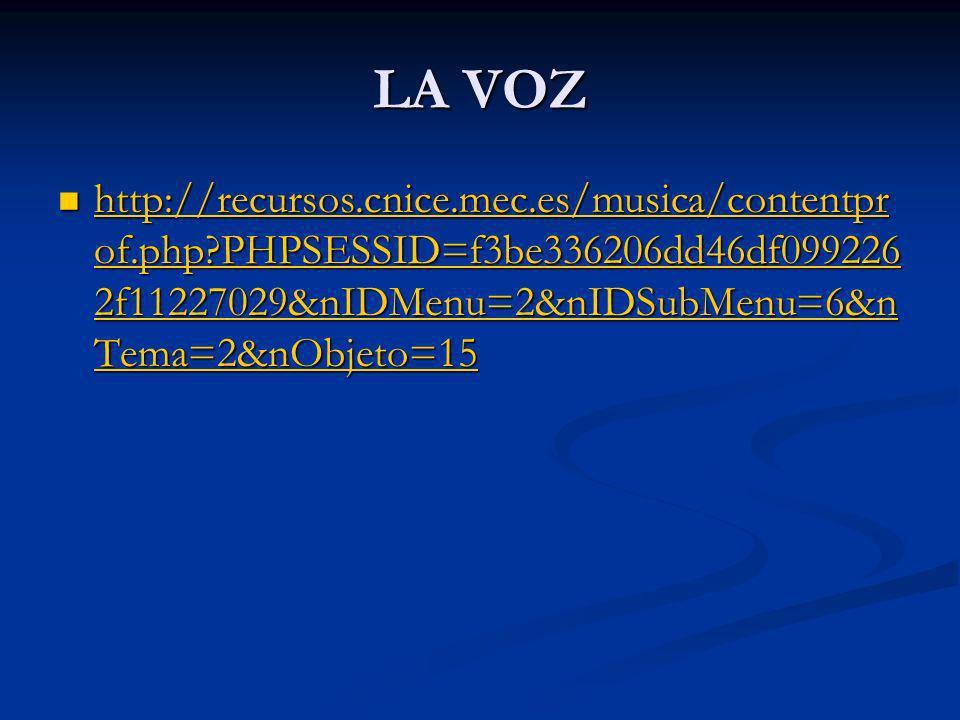 LA VOZ http://recursos.cnice.mec.es/musica/contentprof.php PHPSESSID=f3be336206dd46df0992262f11227029&nIDMenu=2&nIDSubMenu=6&nTema=2&nObjeto=15.