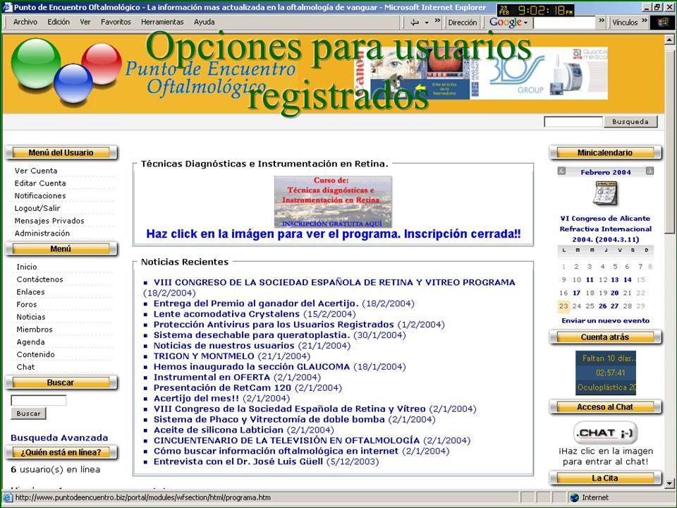 Opciones para usuarios registrados