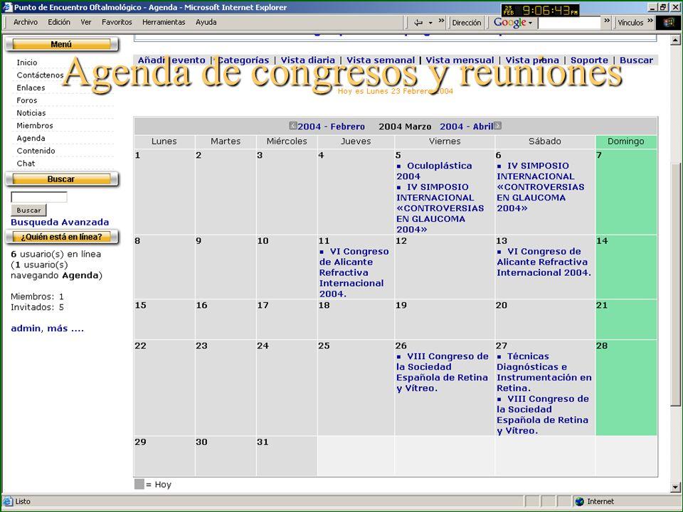 Agenda de congresos y reuniones