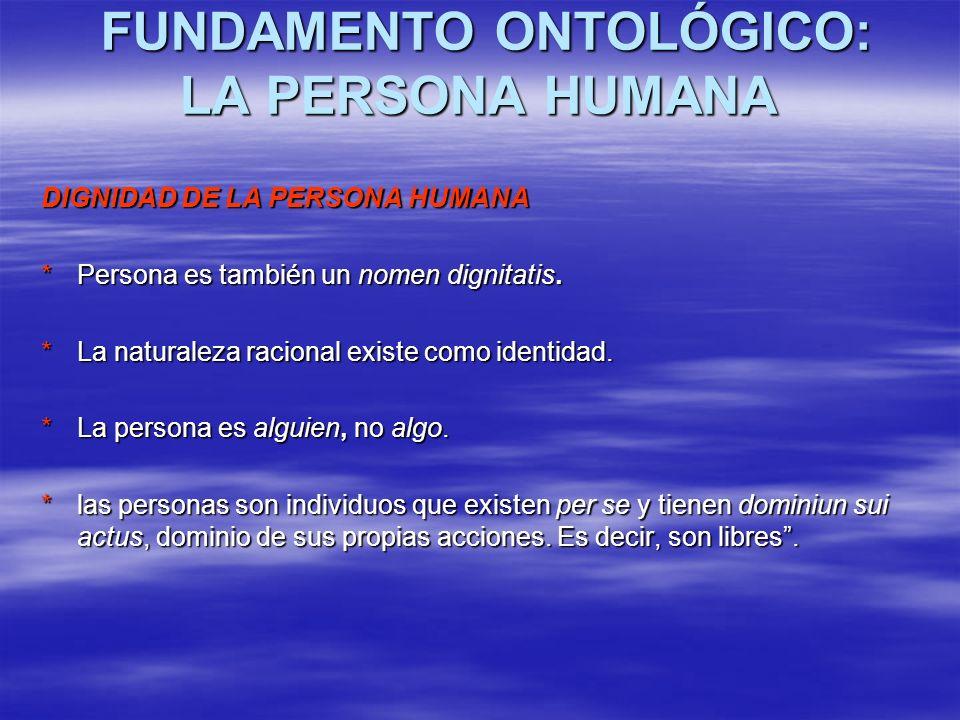 FUNDAMENTO ONTOLÓGICO: LA PERSONA HUMANA