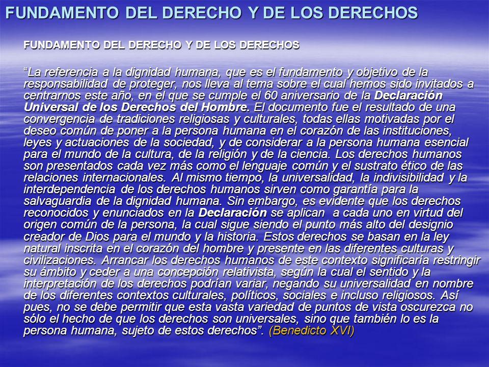 FUNDAMENTO DEL DERECHO Y DE LOS DERECHOS