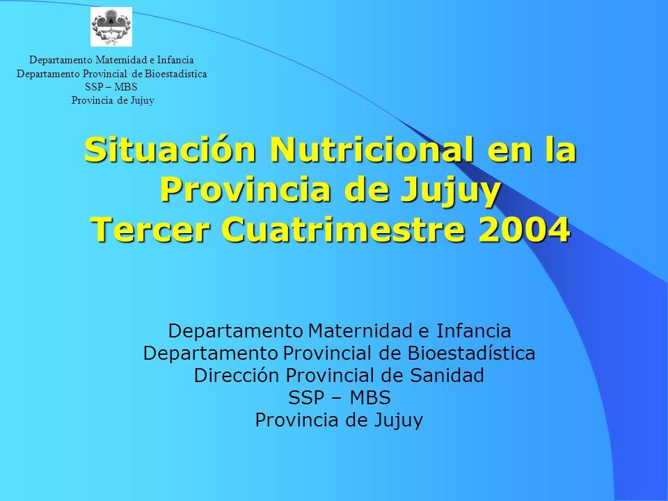 Situación Nutricional en la Provincia de Jujuy Tercer Cuatrimestre 2004