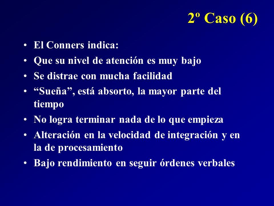 2º Caso (6) El Conners indica: Que su nivel de atención es muy bajo