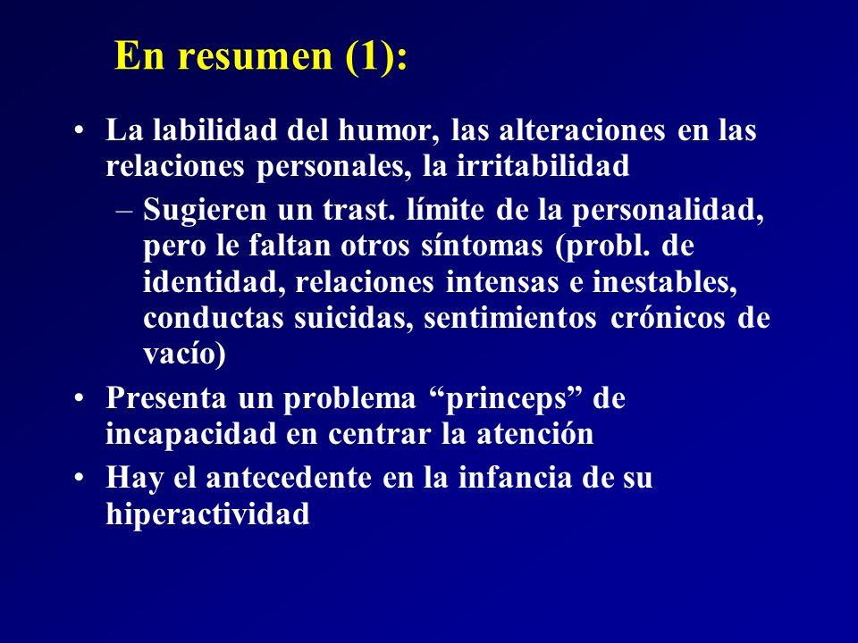 En resumen (1): La labilidad del humor, las alteraciones en las relaciones personales, la irritabilidad.