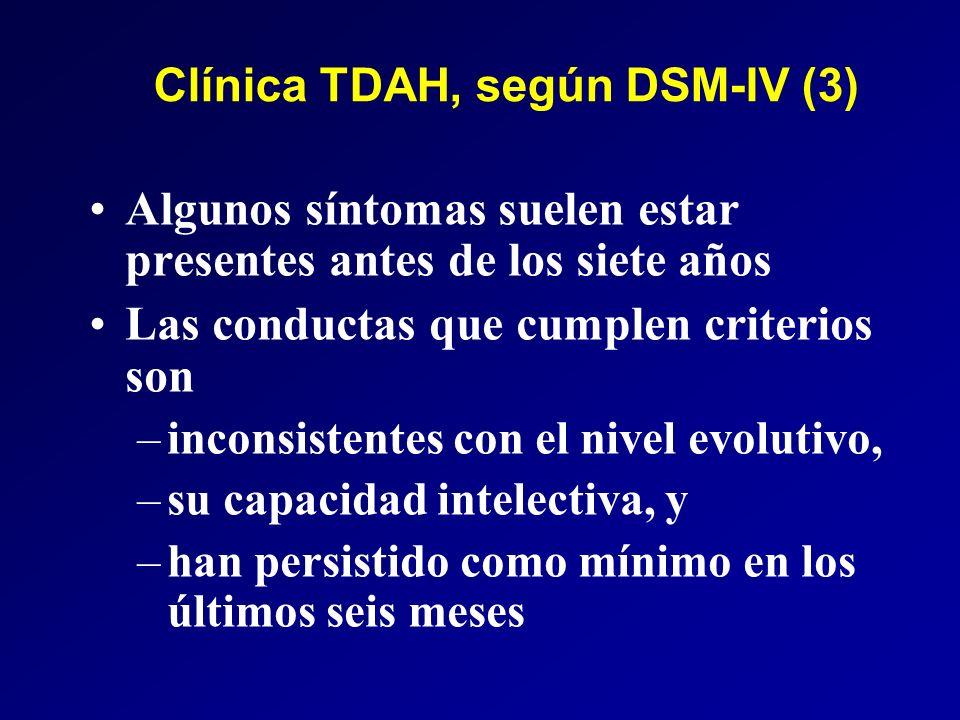 Clínica TDAH, según DSM-IV (3)