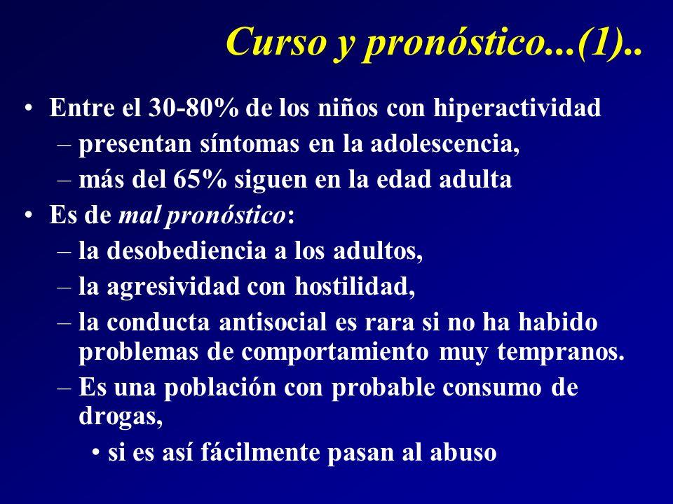 Curso y pronóstico...(1).. Entre el 30-80% de los niños con hiperactividad. presentan síntomas en la adolescencia,