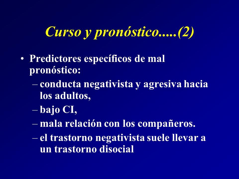 Curso y pronóstico.....(2) Predictores específicos de mal pronóstico: