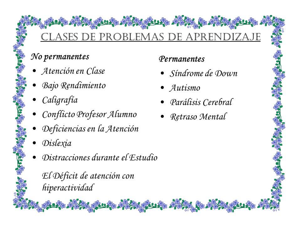 CLASES DE PROBLEMAS DE APRENDIZAJE