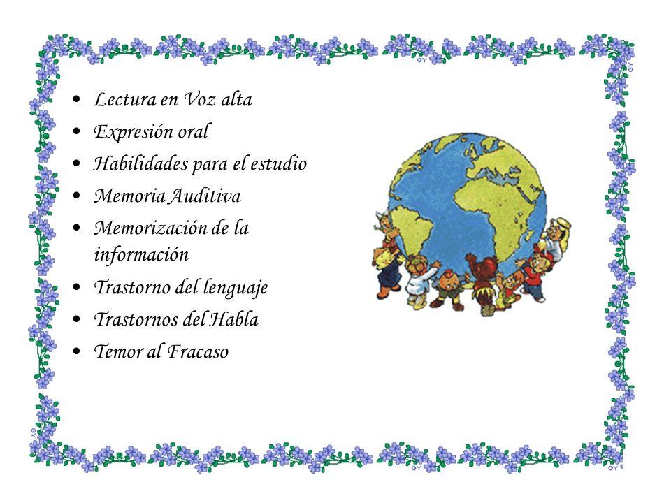 Lectura en Voz alta Expresión oral. Habilidades para el estudio. Memoria Auditiva. Memorización de la información.