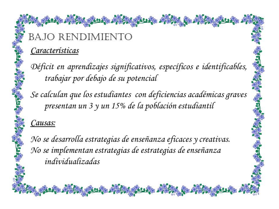 Bajo rendimiento Características. Déficit en aprendizajes significativos, específicos e identificables, trabajar por debajo de su potencial.