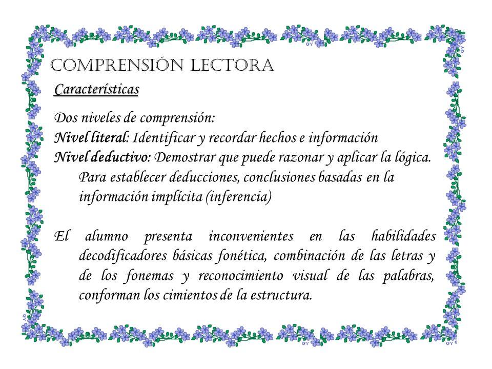 Comprensión Lectora Características. Dos niveles de comprensión: Nivel literal: Identificar y recordar hechos e información.