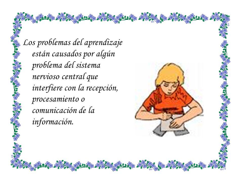 Los problemas del aprendizaje están causados por algún problema del sistema nervioso central que interfiere con la recepción, procesamiento o comunicación de la información.