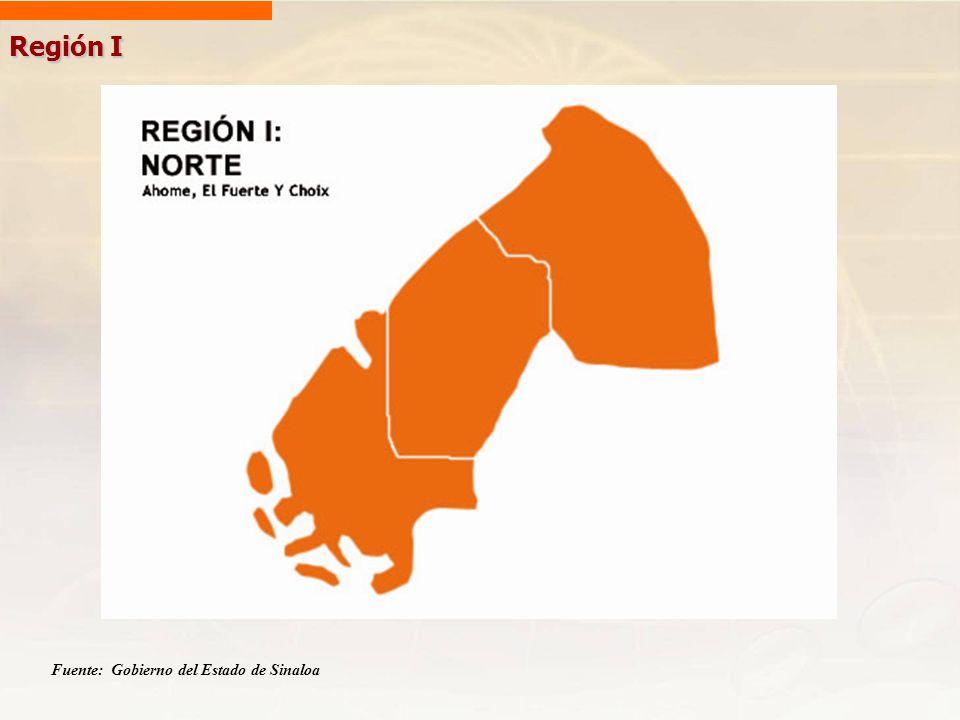Región I Fuente: Gobierno del Estado de Sinaloa
