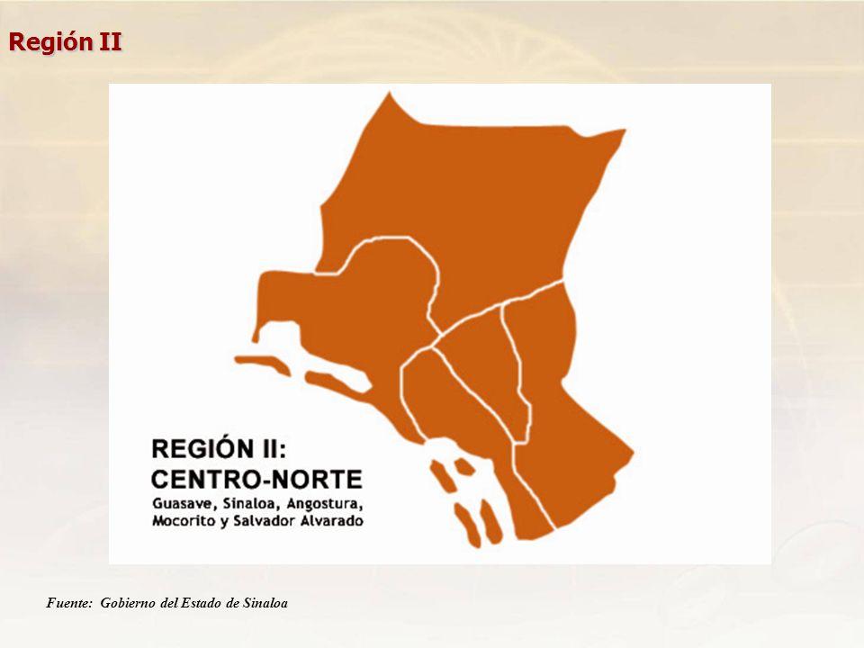 Región II Fuente: Gobierno del Estado de Sinaloa