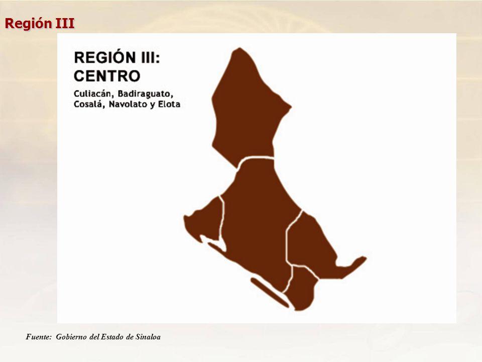Región III Fuente: Gobierno del Estado de Sinaloa