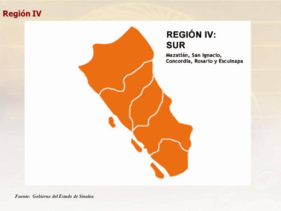 Región IV Fuente: Gobierno del Estado de Sinaloa