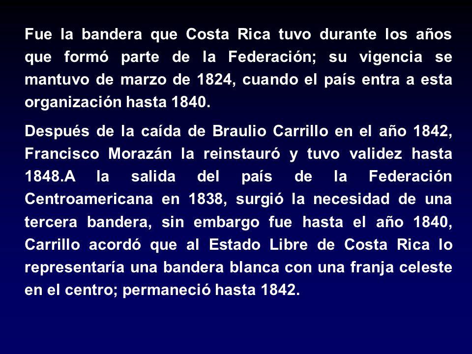 Fue la bandera que Costa Rica tuvo durante los años que formó parte de la Federación; su vigencia se mantuvo de marzo de 1824, cuando el país entra a esta organización hasta 1840.