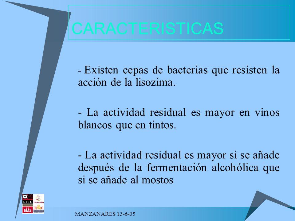 CARACTERISTICAS - Existen cepas de bacterias que resisten la acción de la lisozima. - La actividad residual es mayor en vinos blancos que en tintos.