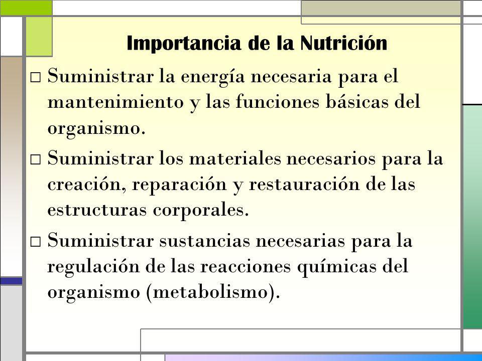 Importancia de la Nutrición