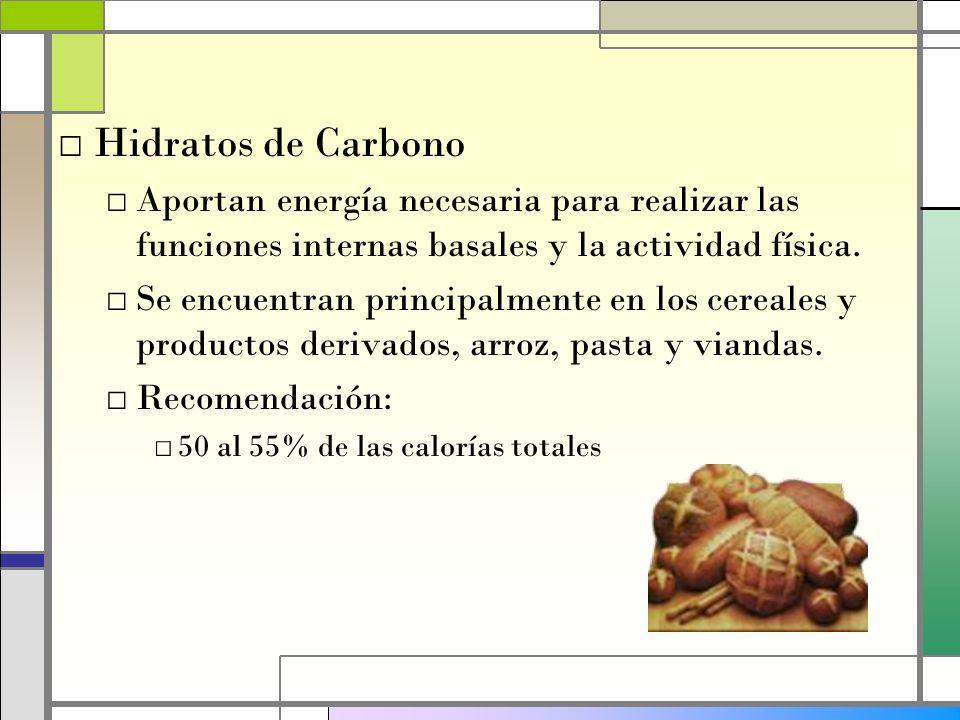 Hidratos de Carbono Aportan energía necesaria para realizar las funciones internas basales y la actividad física.