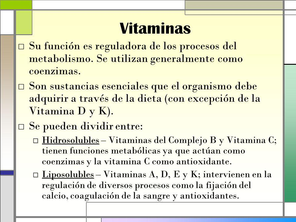 Vitaminas Su función es reguladora de los procesos del metabolismo. Se utilizan generalmente como coenzimas.