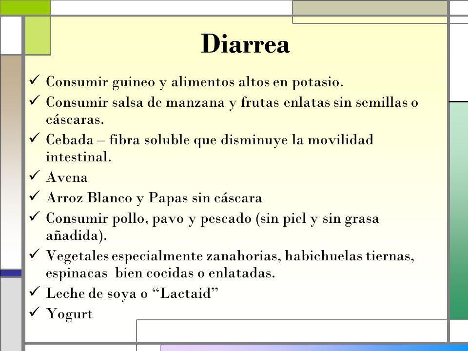 Diarrea Consumir guineo y alimentos altos en potasio.