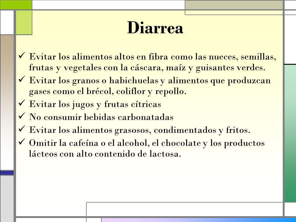 Diarrea Evitar los alimentos altos en fibra como las nueces, semillas, frutas y vegetales con la cáscara, maíz y guisantes verdes.