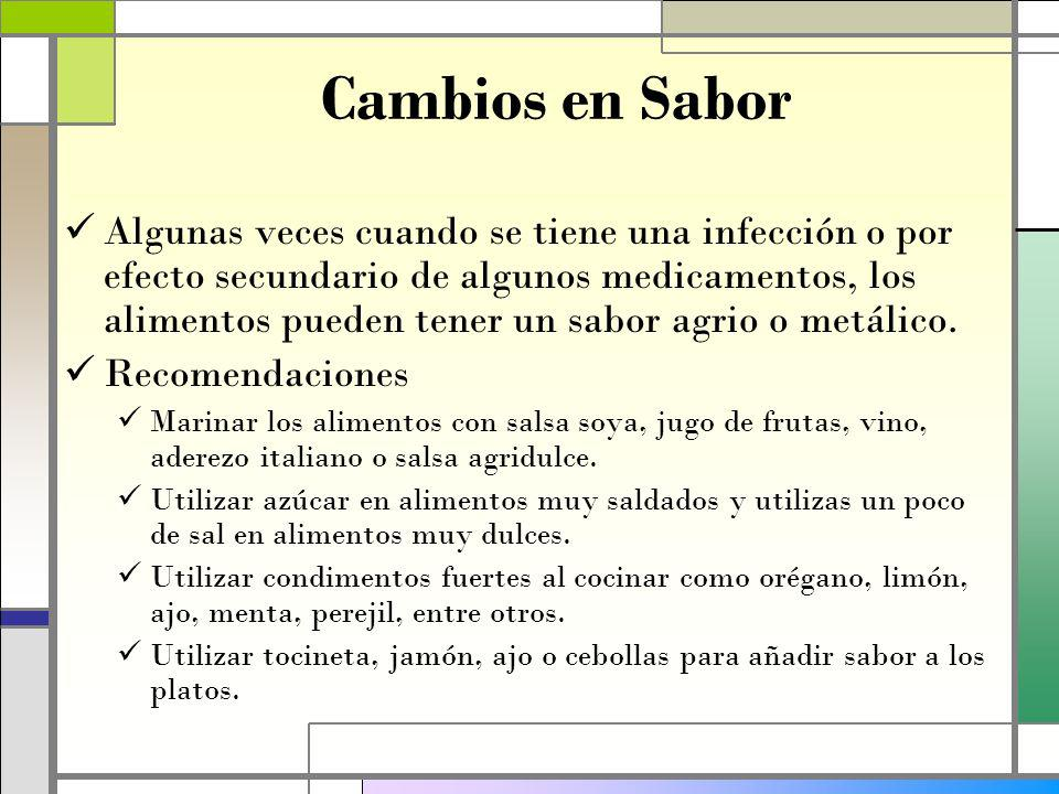 Cambios en Sabor