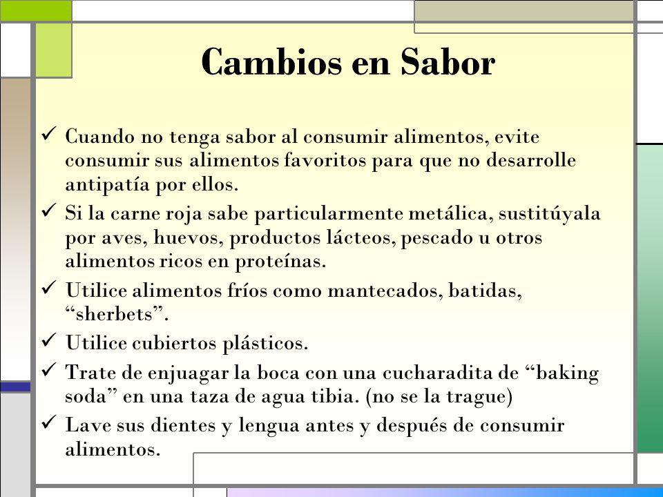 Cambios en Sabor Cuando no tenga sabor al consumir alimentos, evite consumir sus alimentos favoritos para que no desarrolle antipatía por ellos.