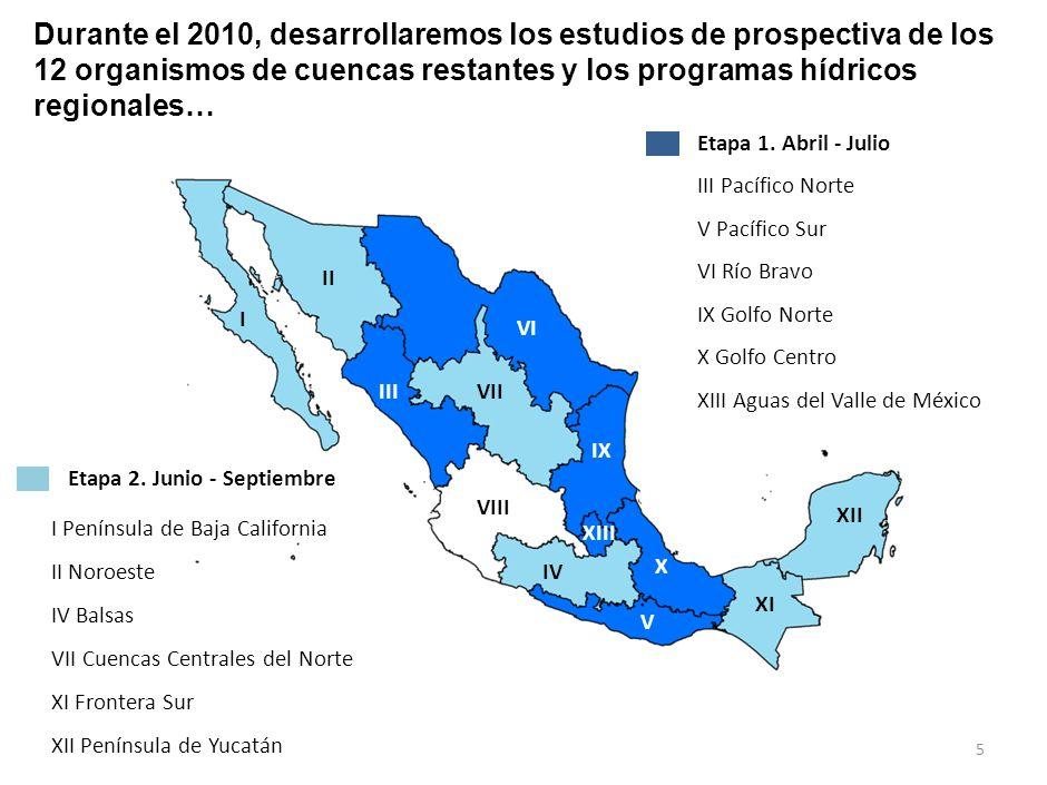 Durante el 2010, desarrollaremos los estudios de prospectiva de los 12 organismos de cuencas restantes y los programas hídricos regionales…