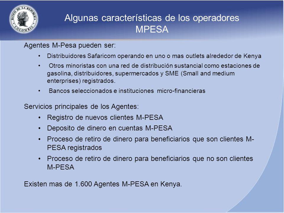 Algunas características de los operadores MPESA
