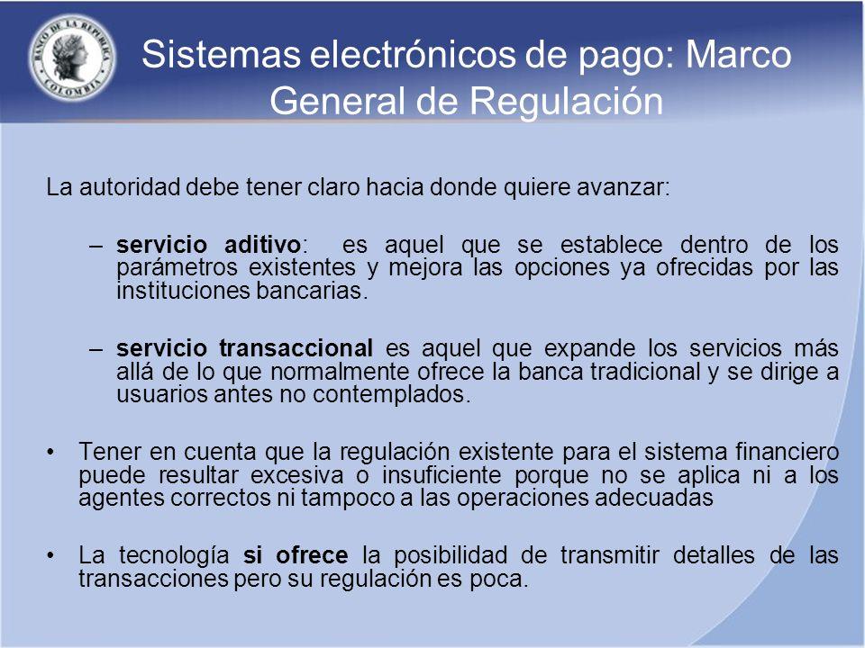 Sistemas electrónicos de pago: Marco General de Regulación