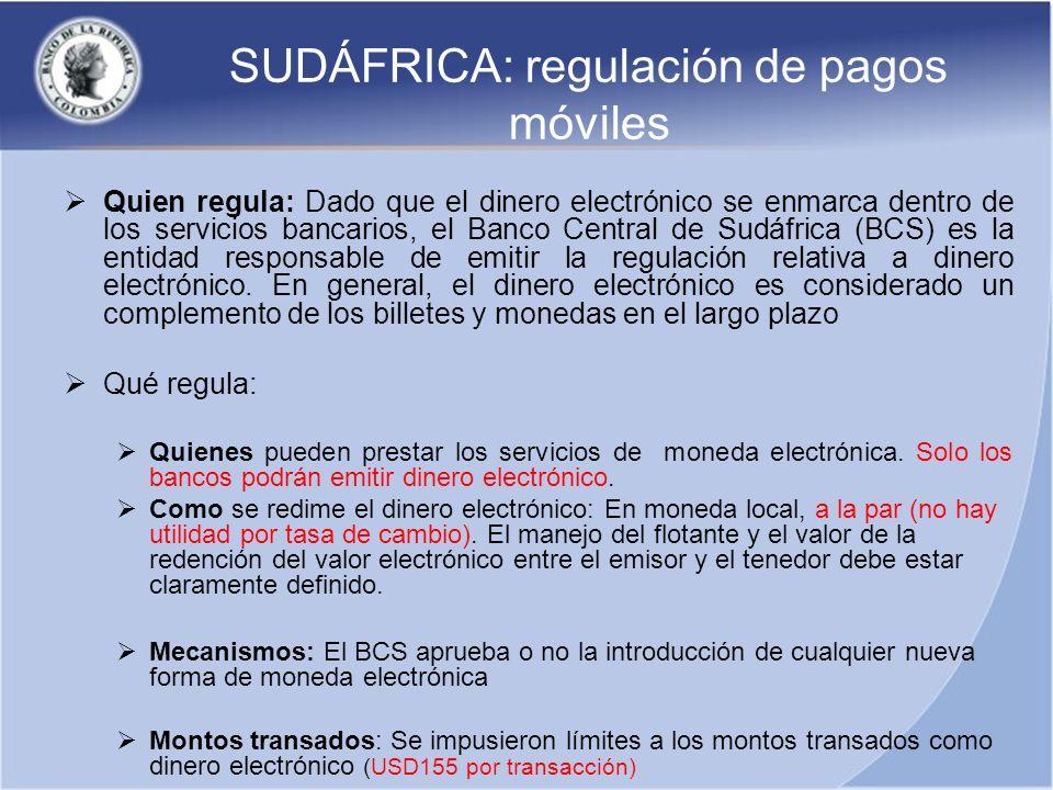 SUDÁFRICA: regulación de pagos móviles