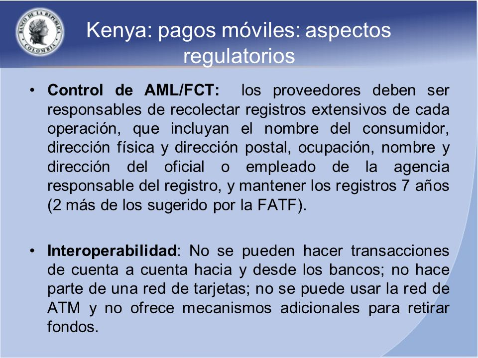 Kenya: pagos móviles: aspectos regulatorios