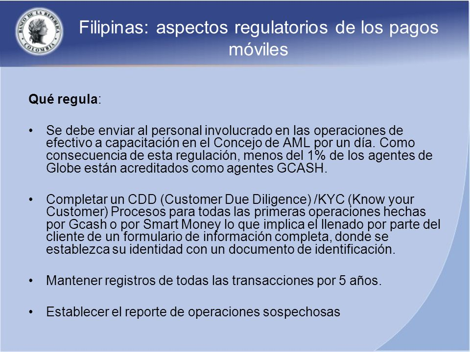 Filipinas: aspectos regulatorios de los pagos móviles