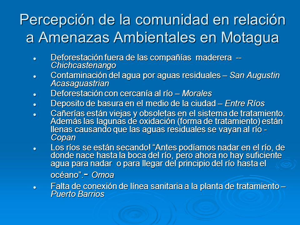Percepción de la comunidad en relación a Amenazas Ambientales en Motagua